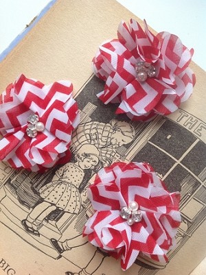 Red chevron fabric flowers. 2.5
