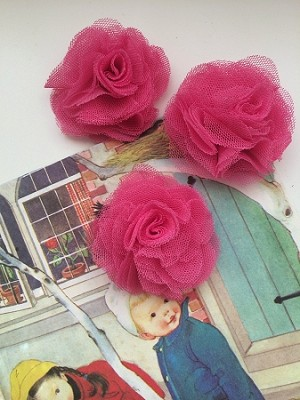 Tulle puffs. Fabric flowers x 1. Hot pink