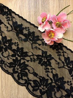 Non-stretch Polyester extra wide lace - BLACK. 12.5cm wide. 1mtr